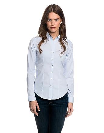 b4dfd2354993 Embraer Damen Bluse tailliert 100% Baumwolle bügelfrei mit Kontrasteinlage  Langarm Hemdbluse elegant festlich Kent-Kragen auch für Business und unter  ...