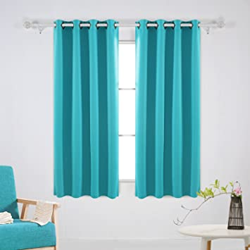 Deconovo Room Darkening Thermal Insulated Blackout Turquoise Curtains For  Bedroom Grommet 52x63 Inch 2 Panels