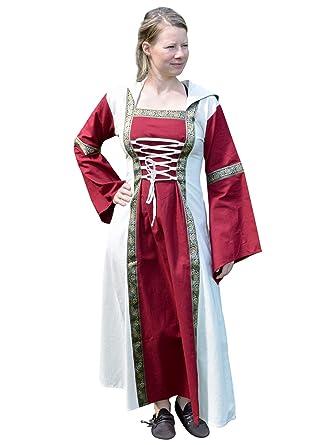 Battle Merchant Mittelalter Kleid Eleanor mit Kapuze rot Natur Gr. S XL Wikinger Kleid LARP Kleid Damen Burgfräulein