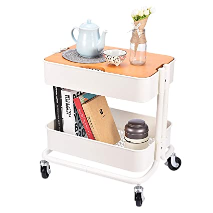 399cb21b6f29 2-Tier Metal Utility Rolling Cart Storage Side End Table with Cover Board  for Office Home Kitchen Organization, Cream White