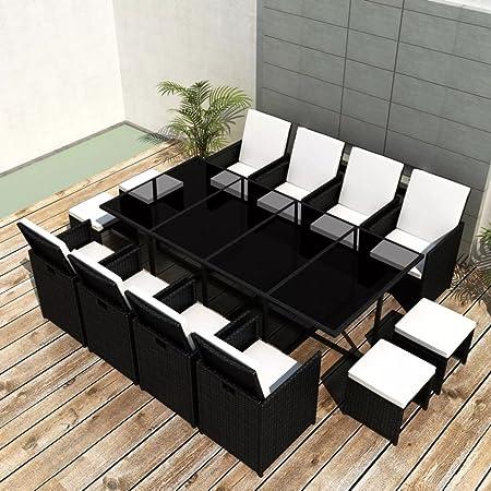 Tidyard Conjunto Muebles de Jardín de Ratán 33 Piezas con Taburetes Sofa Jardin Exterior Sofas Exterior Ratan Conjunto Jardin para Jardín Terraza Patio en Poli Ratán Negro: Amazon.es: Hogar