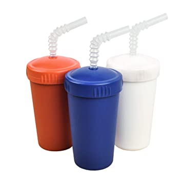 Made from Eco Friendly Heavyweight Recycled Milk Jugs Re-Play Made in USA 3pk No Spill Cups for Baby and Child Feeding in Red Virtually Indestructible Patriotic White and Navy Blue Toddler