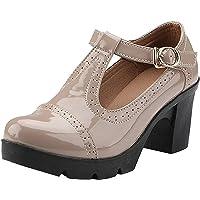 DADAWEN Zapatos Mary Jane Oxfords para mujer, con plataforma en forma de T, para vestido