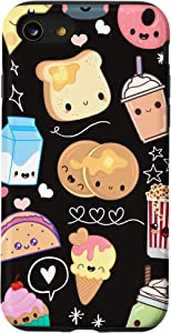 iPhone SE (2020) / 7 / 8 Kawaii Food Phone Case Cute Gifts for Girls in Black Case