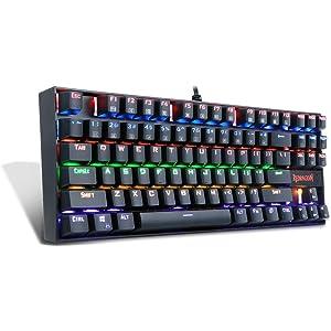 5e7df01f7ff Redragon K552-R Mechanical Gaming Keyboard 87 Keys Small Compact Rainbow  Backlit Keyboard USB Wired