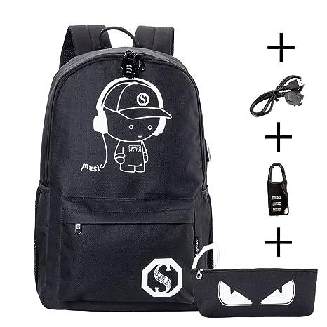 Mochila porta PC Antirrobo Mochila Escolar luminoso con cargador USB nottilucente negro
