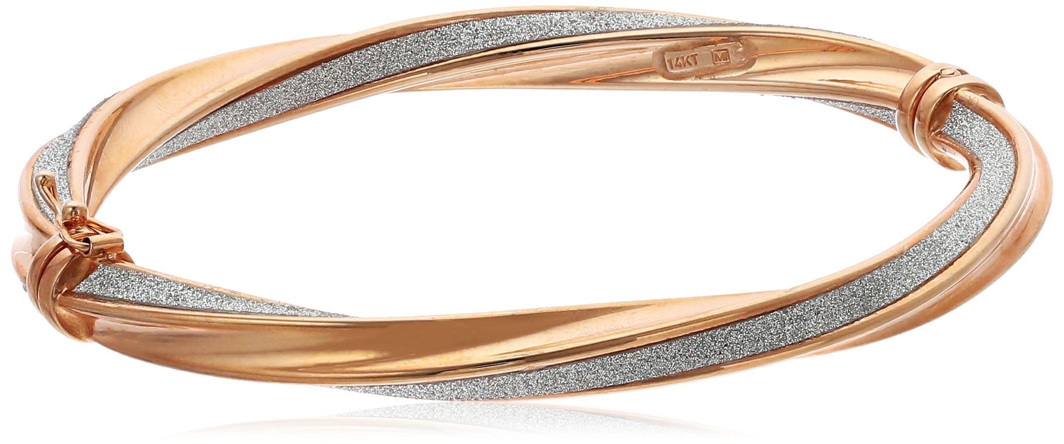 14k Rose Gold Italian Twisted 6 mm Tube Hinged with Pave Style Glitter Bangle Bracelet by Amazon Collection