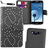 Connect Zone® Samsung Galaxy S3 i9300 Premium PU Leather Flip Wallet Case Cover Pouch + Screen Protector With Polishing Cloth And Mini Stylus