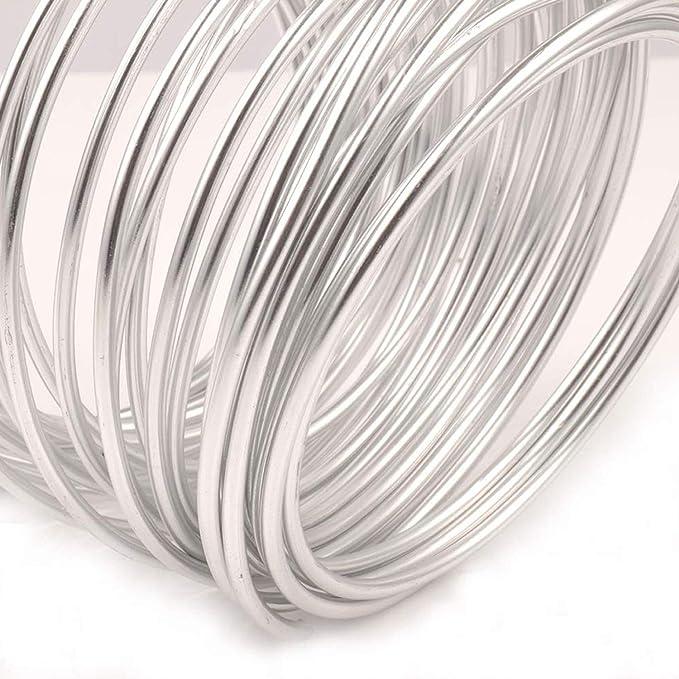 NEPAK 32.8 Feet(3mm) Schmuckdraht Aluminiumdraht zum Basteln und Modellieren von Schmuckteilen, Drahtskulpturen, Rostfrei Basteldraht(silber)
