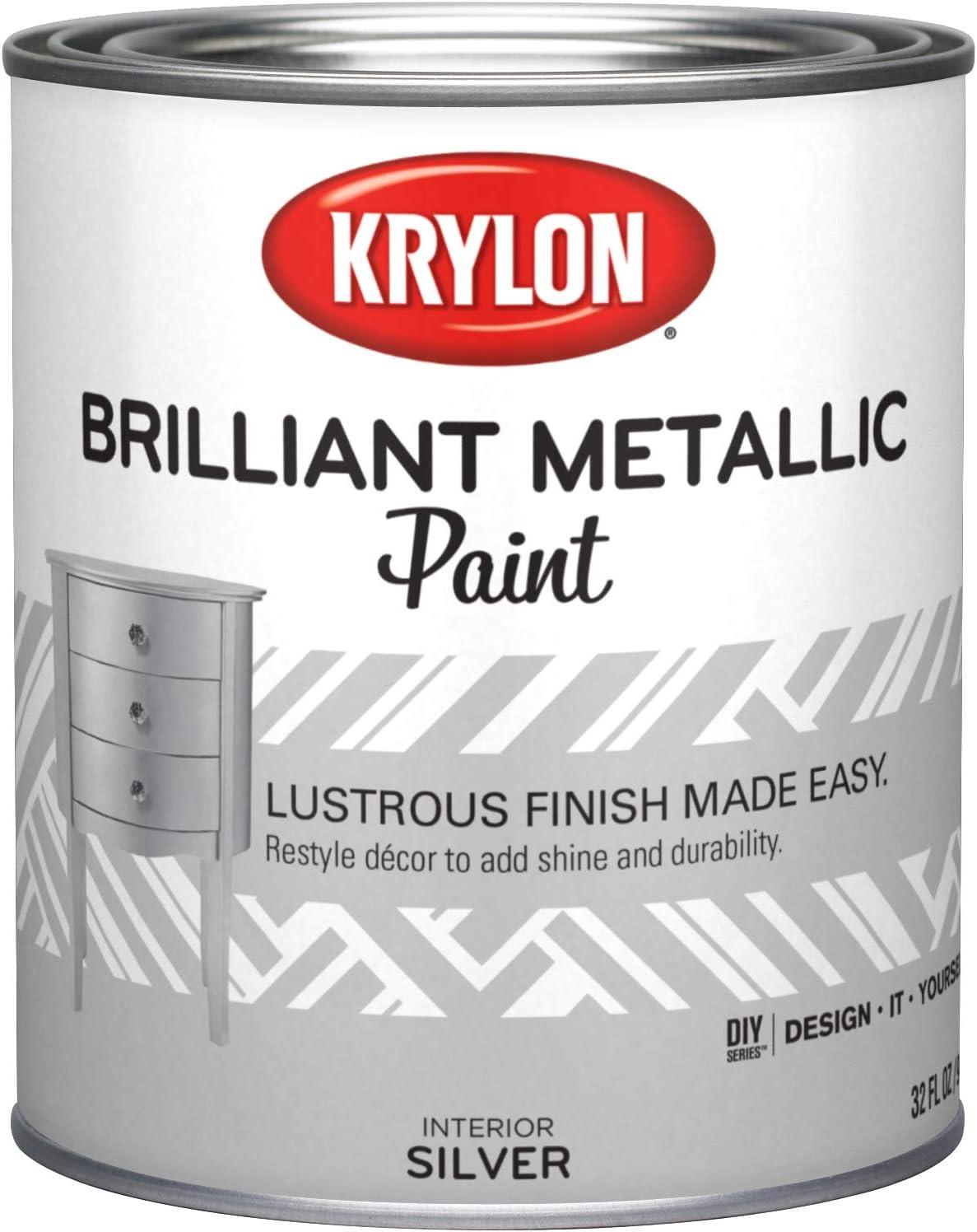 Krylon K02226000-14 Brilliant Metallic, Quart, Silver