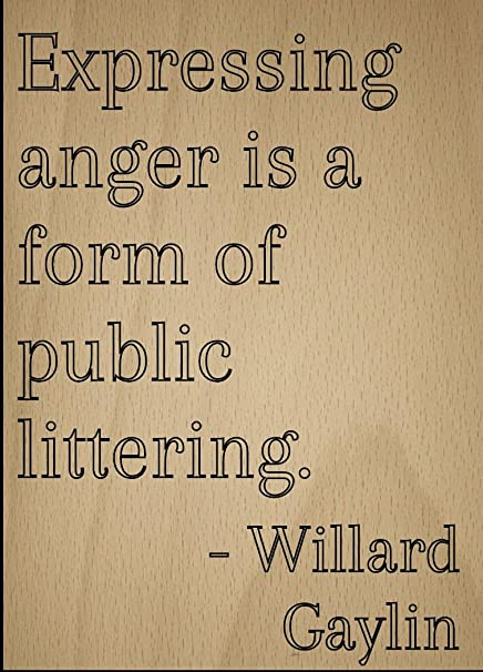 Mundus Souvenirs - Expressing anger is a form of public. quote by Willard Gaylin, laser engraved on wooden plaque - Size: 20cm x 25cm