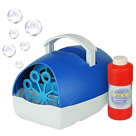 AMOS Máquina de Burbujas Pompas de Jabón Soplador Creador Portátil Funcionado con Red o Batería +