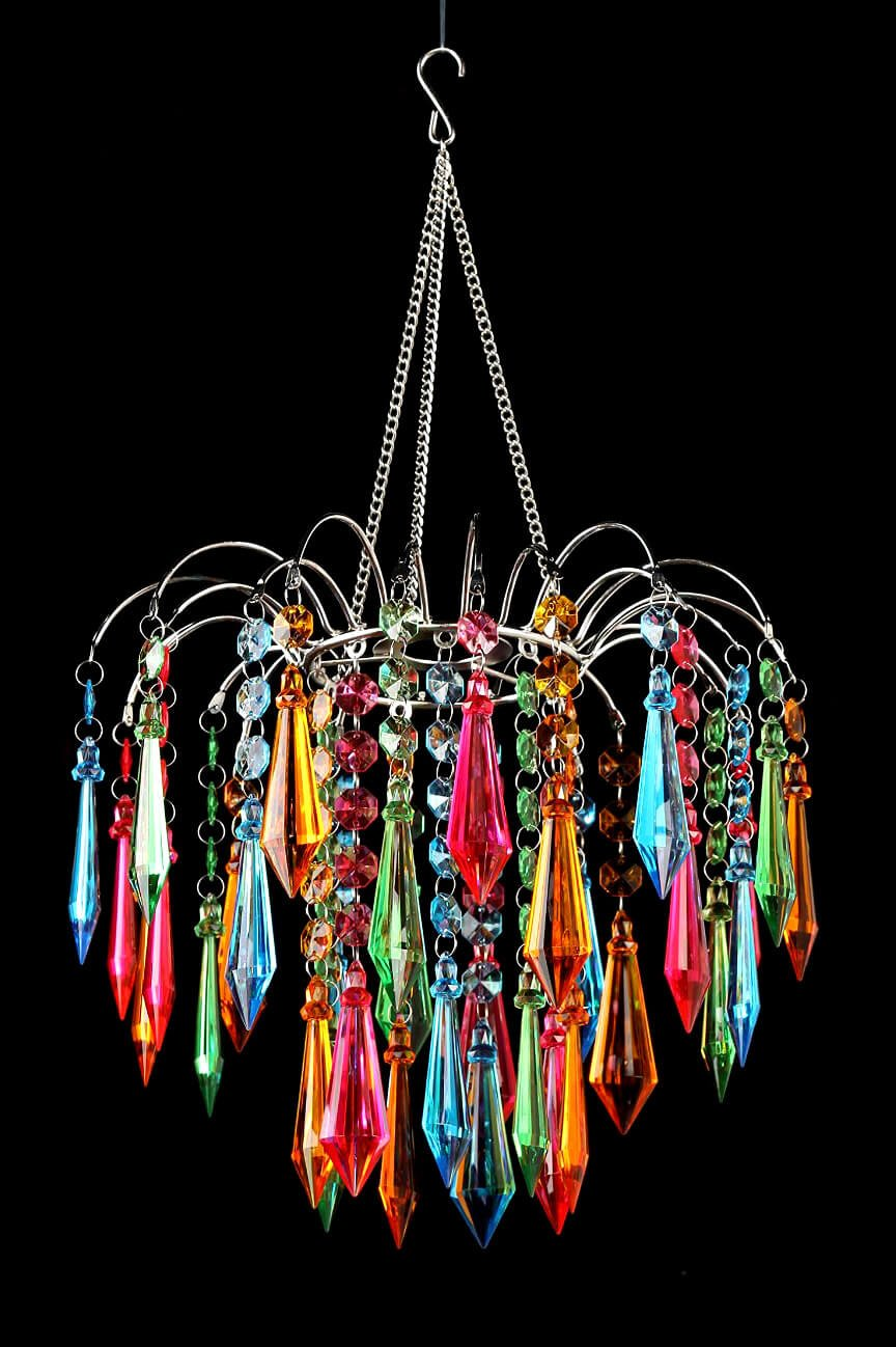 Dexon Power Faceted Waterfall Chandelier, Multi Colored