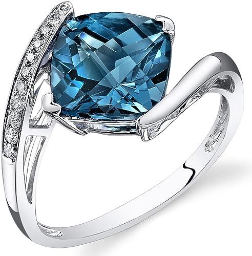Acabado De Oro Blanco Azul Zafiro y creado diamante pearcut Collar Regalo en Caja