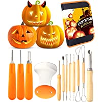 12 Pieces Professional Pumpkin Carving Tool Kit Heavy Duty Stainless Steel Tool Set with Storage Carrying Case Used As a Carving Knife for Pumpkin Halloween Decoration