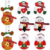 Fabur 8pcs Bolsas para Cubiertos de Navidad, Papa
