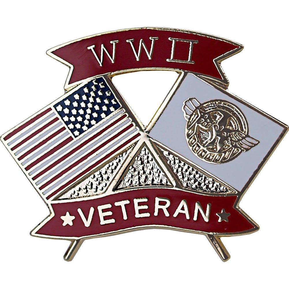 American and WWII Veteran Crossed Flags 1 1/8'' Lapel Pin