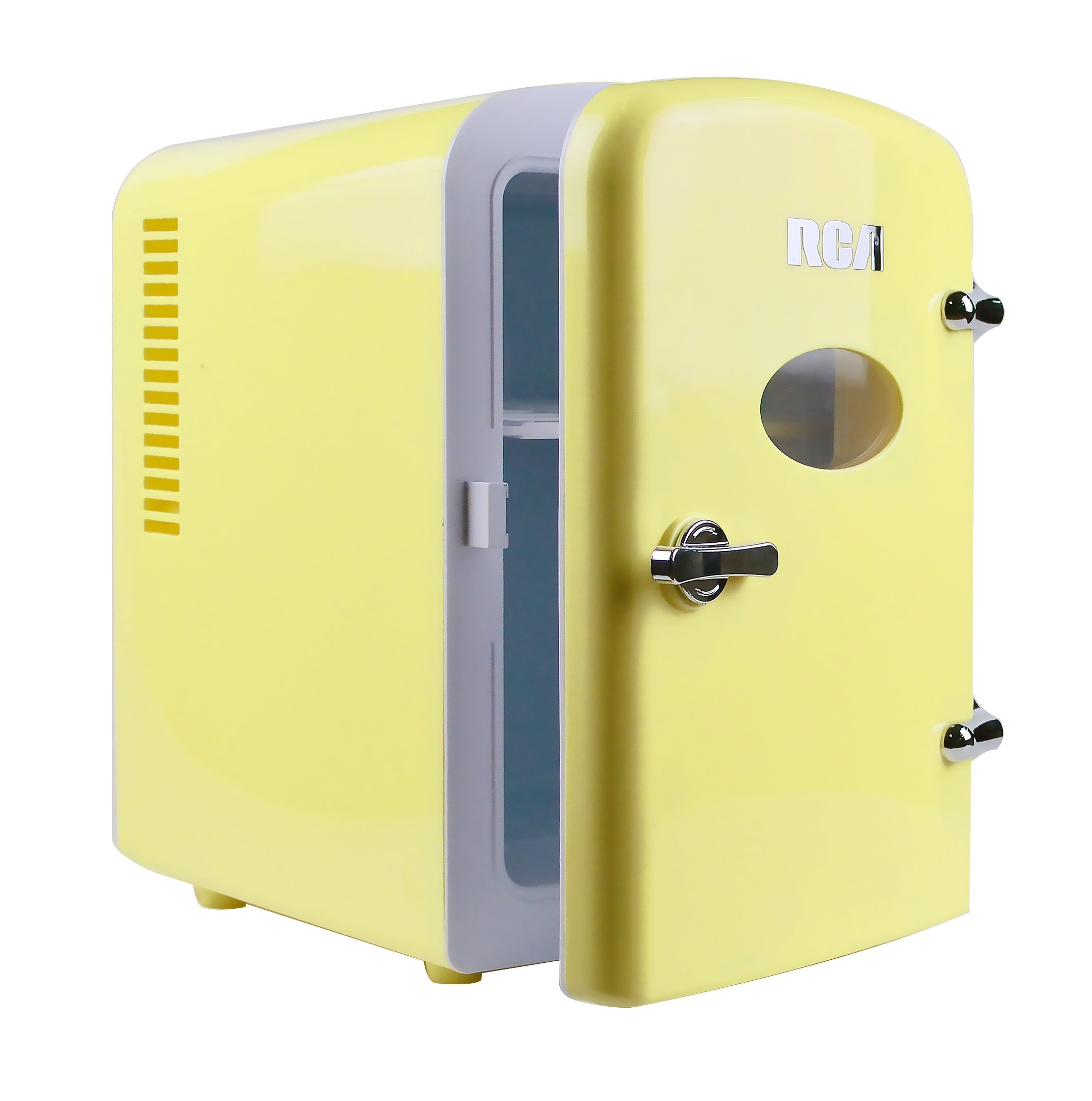 RCA Mini Compact Beverage Refrigerator, Yellow, Great for keeping office lunch and a couple drinks cool! by RCA (Image #2)