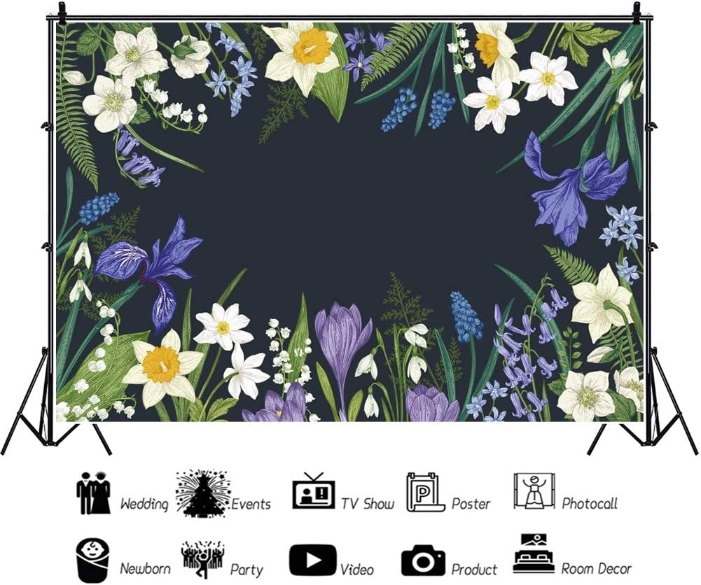 YEELE 12x8ft Watercolor Flower Backdrop Purple Tropical Flowers Photography Background Summer Pictures Tropical Hawaiian Luau Theme Birthday Party Photobooth Props Digital Wallpaper