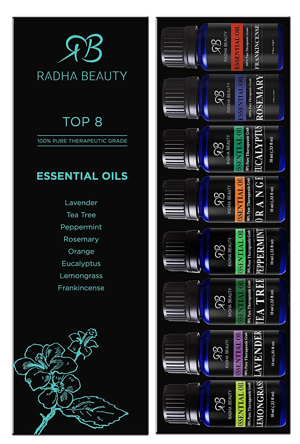 Radha Beauty Aromatherapy Top 8 Essential Oils 100% Pure & Therapeutic grade - Basic Sampler Gift Set & Kit (Lavender, Tea Tree, Eucalyptus, Lemongrass, Orange, Peppermint, Frankincense and Rosemary) by Radha Beauty (Image #2)