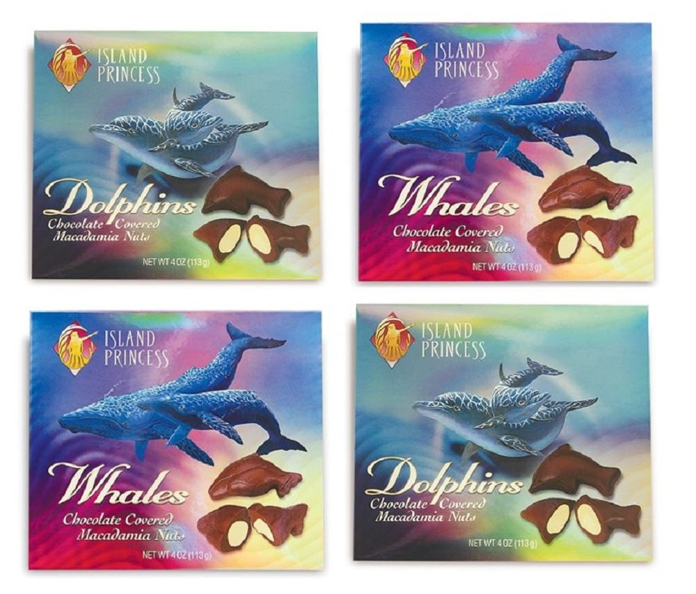 Dolphins and Whales Chocolate Covered Macadamia Nuts 4 Pack by Island Princess