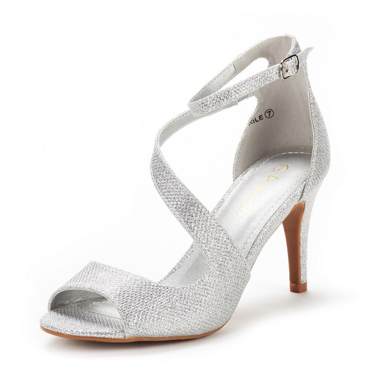 DREAM PAIRS Women's NILE Silver Glitter Fashion Stilettos Open Toe Pump Heel Sandals Size 5.5 B(M) US