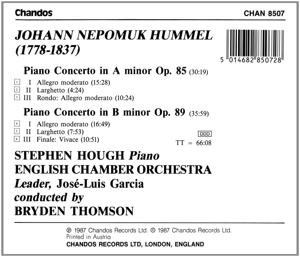 Hummel: Piano Concerto in A Minor and B Minor by Chandos