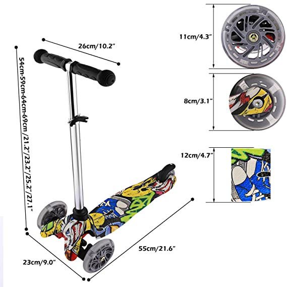 Amazon.com: Moroly Kids Scooter 2 Wheel Kick Scooter LED ...