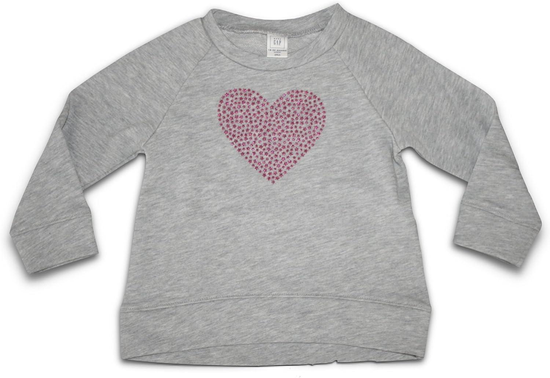 BabyGap Girls Glitter Heart Pullover Lightweight Sweatshirt Gray//Berry