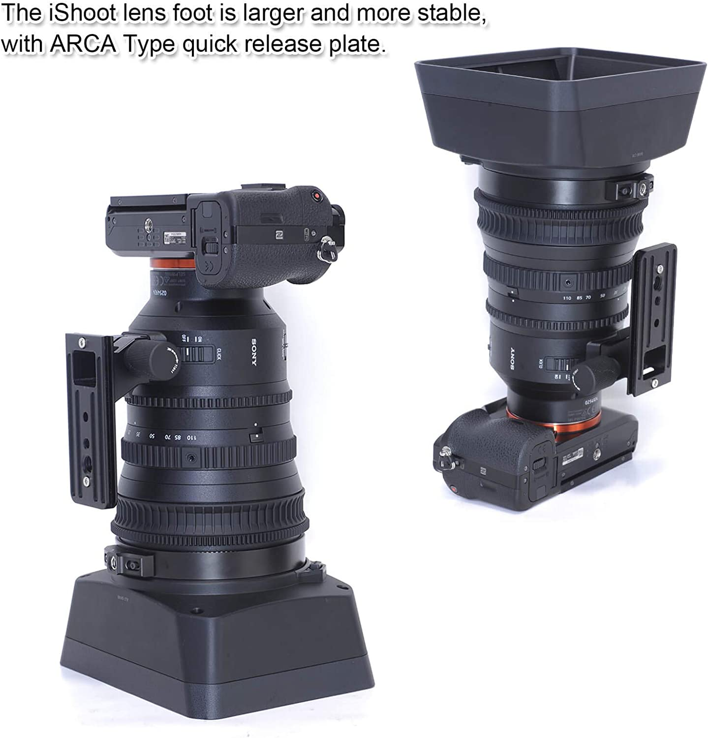 iShoot Arca Type Replacement Lens Foot for Sony E PZ 18-110mm f//4 G OSS Lens CNC Machined Aviation Aluminum Lens Tripod Mount Ring Replacement Base with 90mm Quick Release Plate for Tripod Head