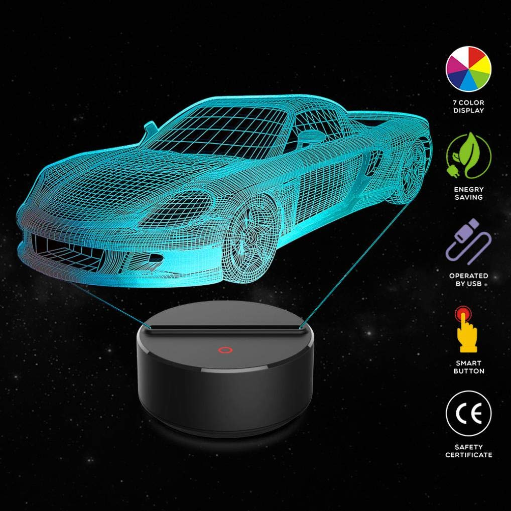 DICPOLIA Smart Home 3D Night Light Racing car 7 Colors Change with Remote Night Lights for Kids Room Decor for Kids (Clear)