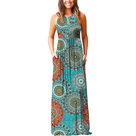 d2a8984e6f8 Women s Summer Sleeveless Bohemian Printed Beach Maxi Long Dresses with  Pockets Casual Sundresses Party Dresses Army