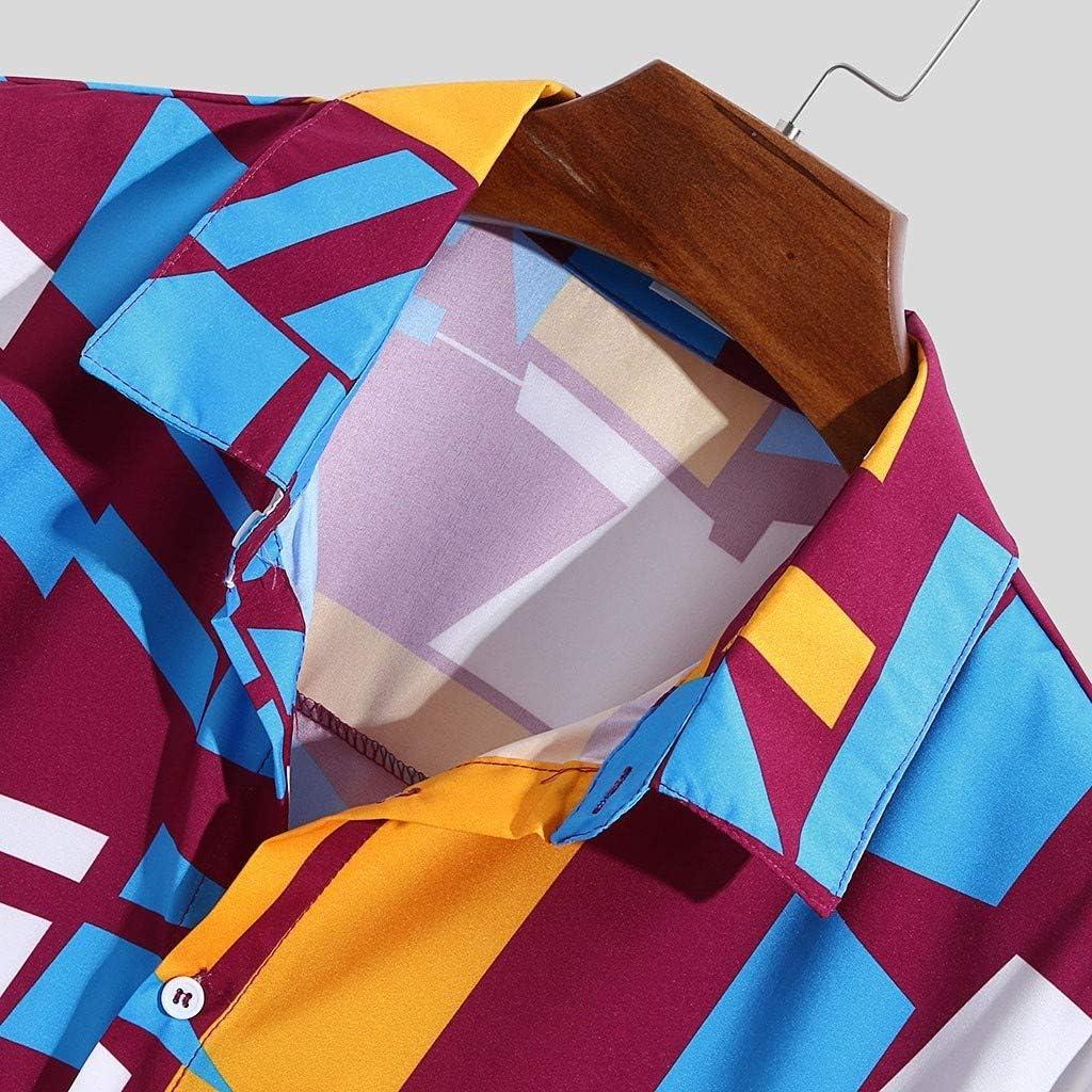 Ginli Camicia Uomo Camicie di Lino a Maniche Corte con V Collo Estive Camicia Verde Giallo Rosso M-XXXL