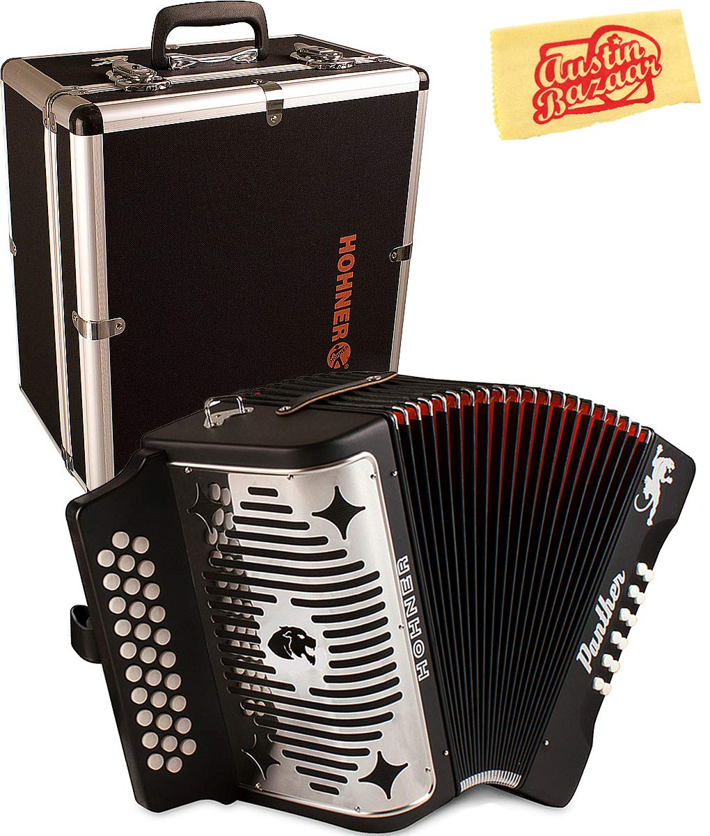 Hohner Panther Diatonic Accordion - Keys G/C/F Bundle with Hard Case and Austin Bazaar Polishing Cloth