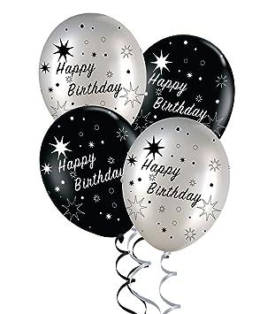 Black And Silver Elegant Happy Birthday Balloons Pack Of 5 Amazon