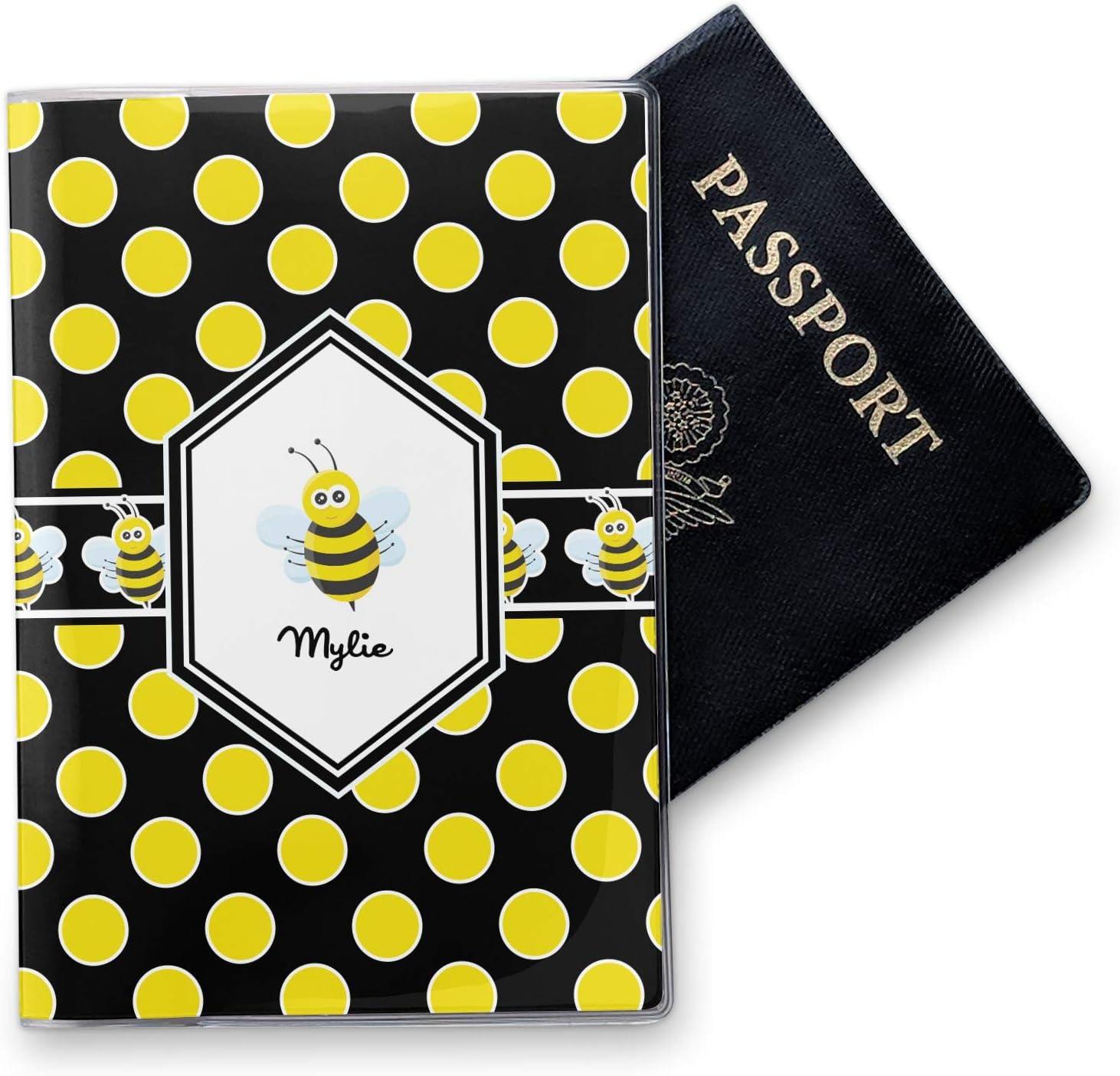 Personalized Bees /& Polka Dots Vinyl Passport Holder Honeycomb
