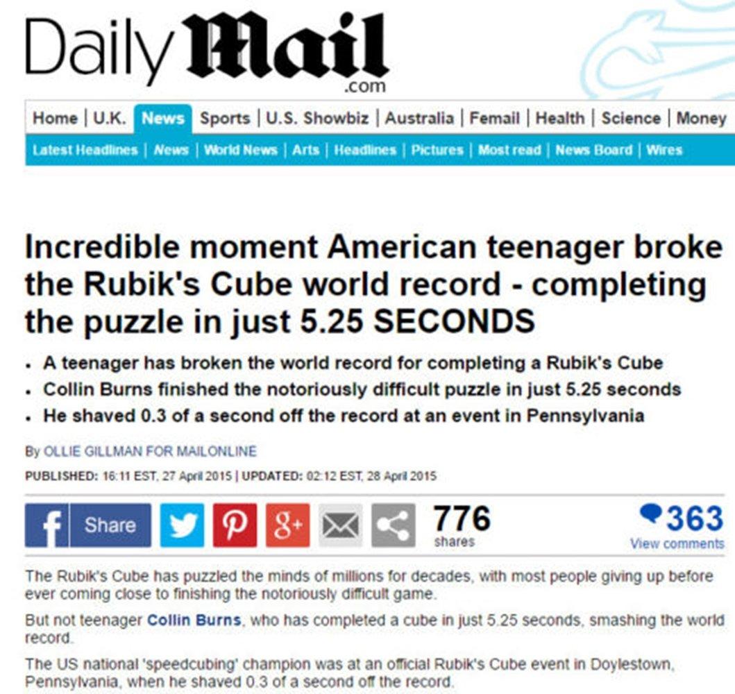 Fastest Speed Cube 3x3 3x3x3 Magic Twist Puzzle World Record 5.25s Brain Teasers