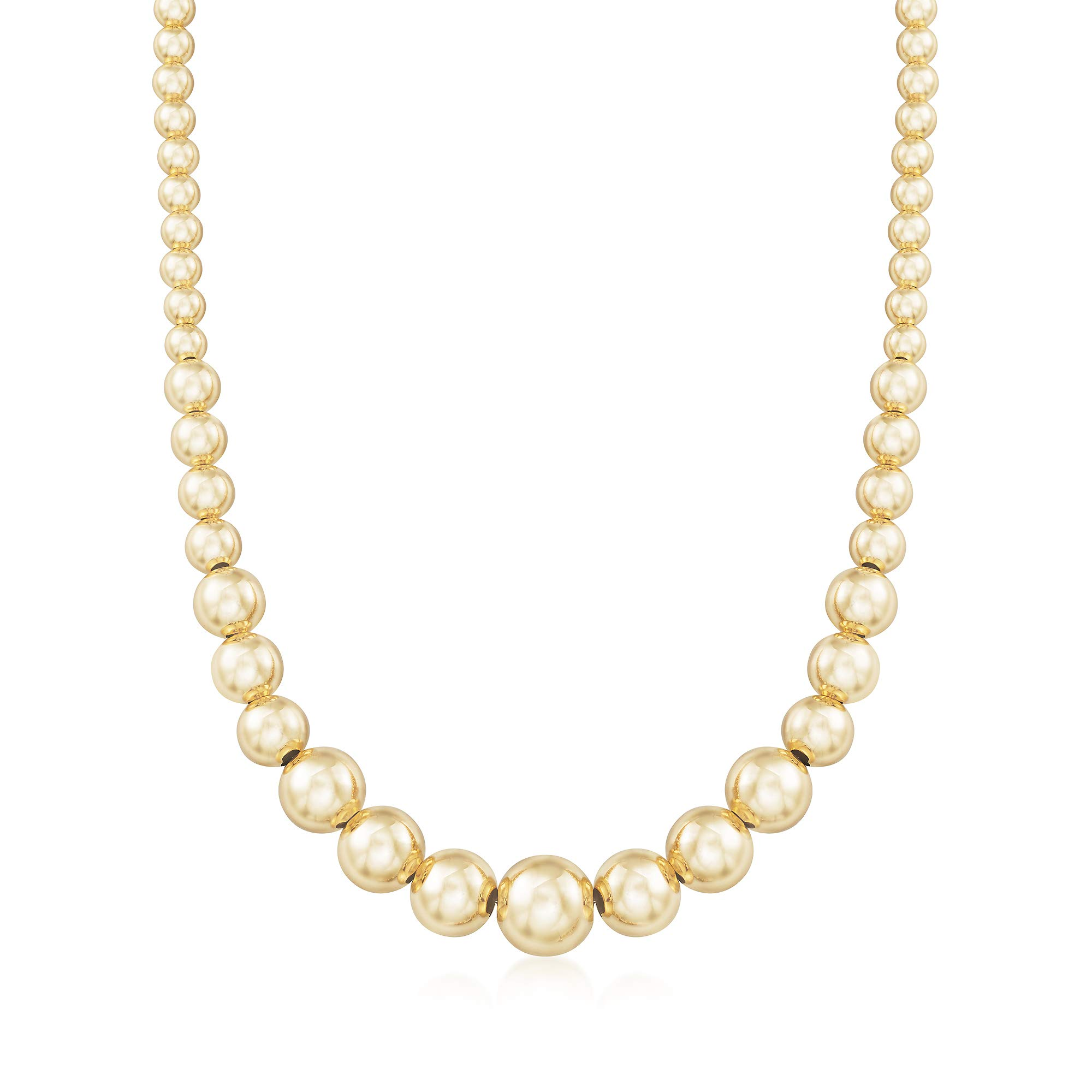 Ross-Simons Italian 6-14mm 18kt Gold Over Sterling Silver Graduated Bead Necklace by Ross-Simons