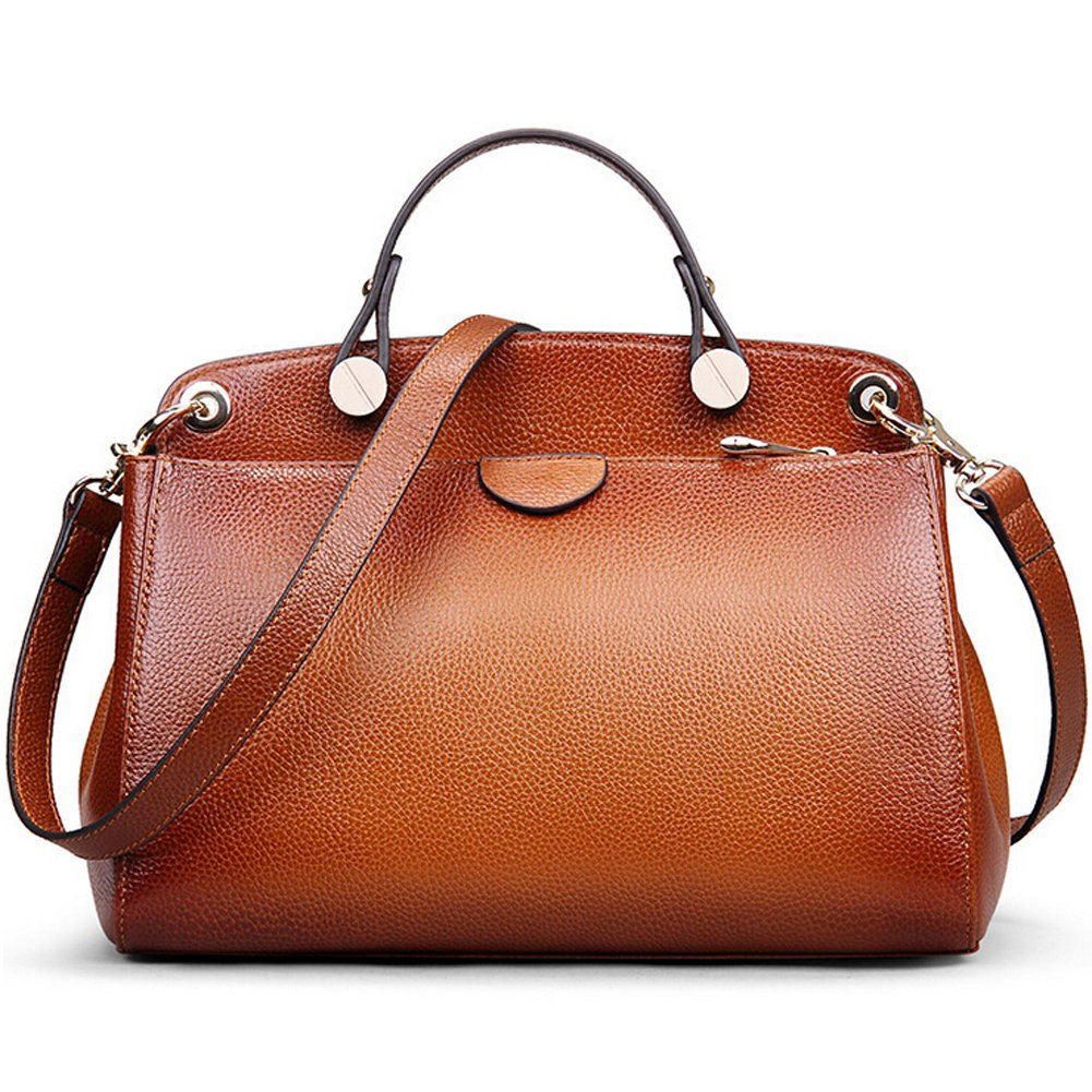 AB Earth Genuine Leather Designer Handbag for Women Doctor Style Top-handle Tote Cross Body Shoulder Bag (Brown) by AB Earth
