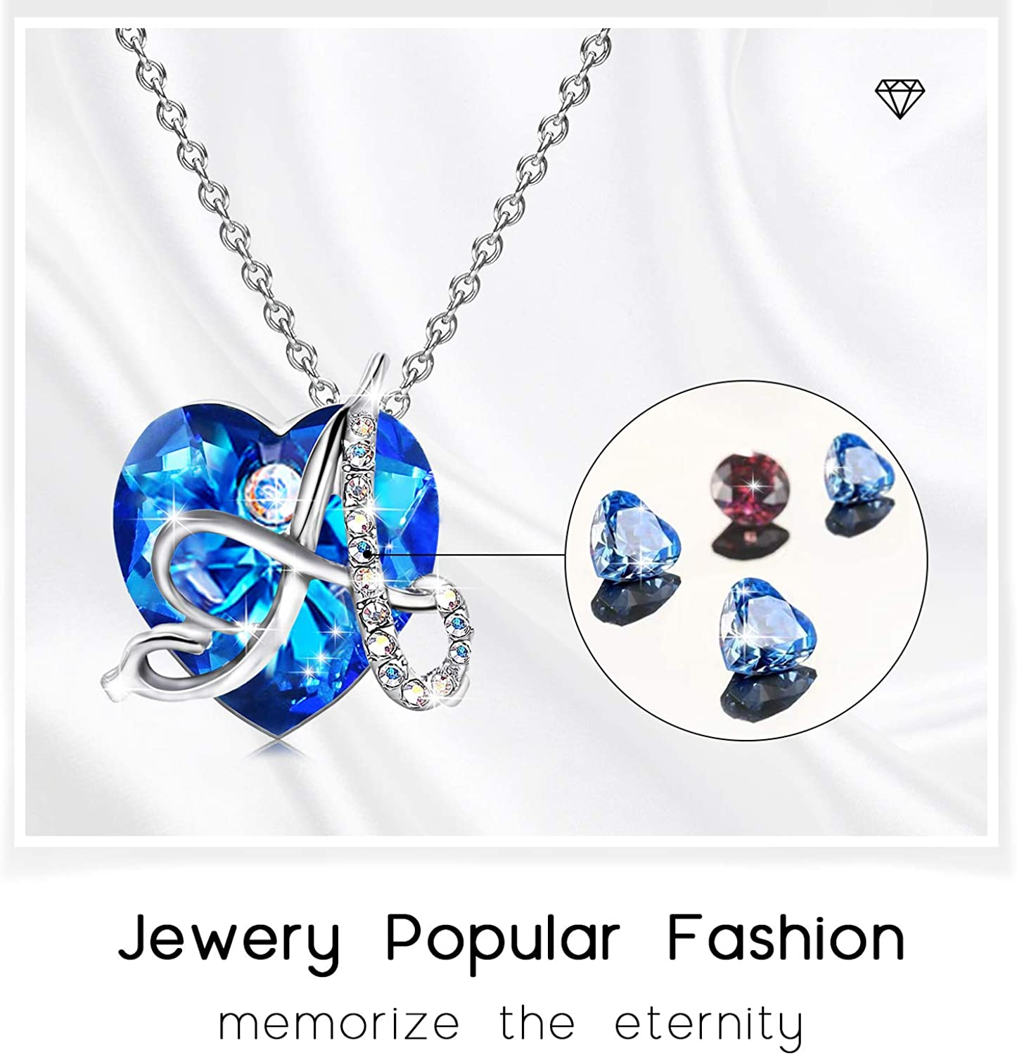 Customized Necklace with Initials on Blue Crystal Pendant Heart Necklace for Girls Heart A Initial Necklaces for Women Unique Jewelry for Women as Best Friend Graduation Mothers Day Gifts