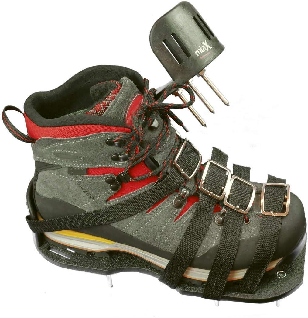 miaX Profi aireador de césped suela para zapatos antideslizantes - la mejor calidad - para un césped perfecto - suela de zapato escarificador con talón elevado para sujeción segura