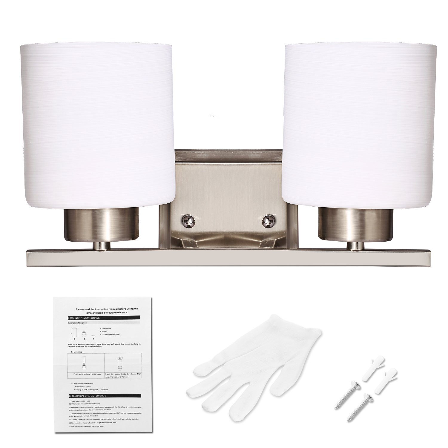 Bazal Bathroom Wall Sconces 2 Bulb Vanity Light Fixture Bath Wiring A Bar Cover Interior Lighting With Glass Shade Brushed Nickel White Glove