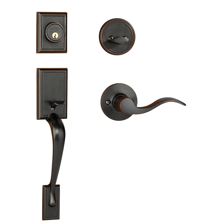 front door handlesetDynasty Hardware RIDHER10012PL Ridgecrest Front Door Handleset