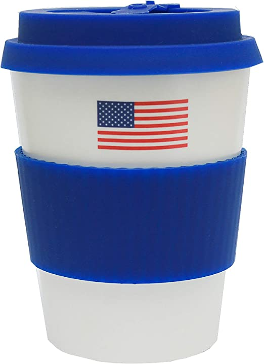 Blue Reusable Coffee Cup with Lid Travel Mug Eco-Friendly Bamboo Fibre Silicon Natural 16oz