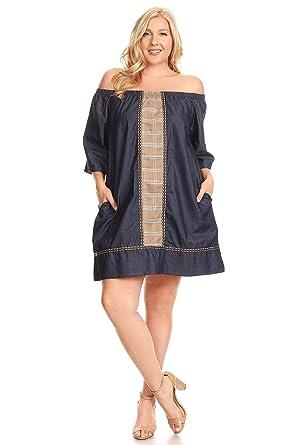 47869c3c7d6 Amazon.com  C.O.C. Curve Wome Plus Size Chambray Off Shoulder a-line Dress   Clothing