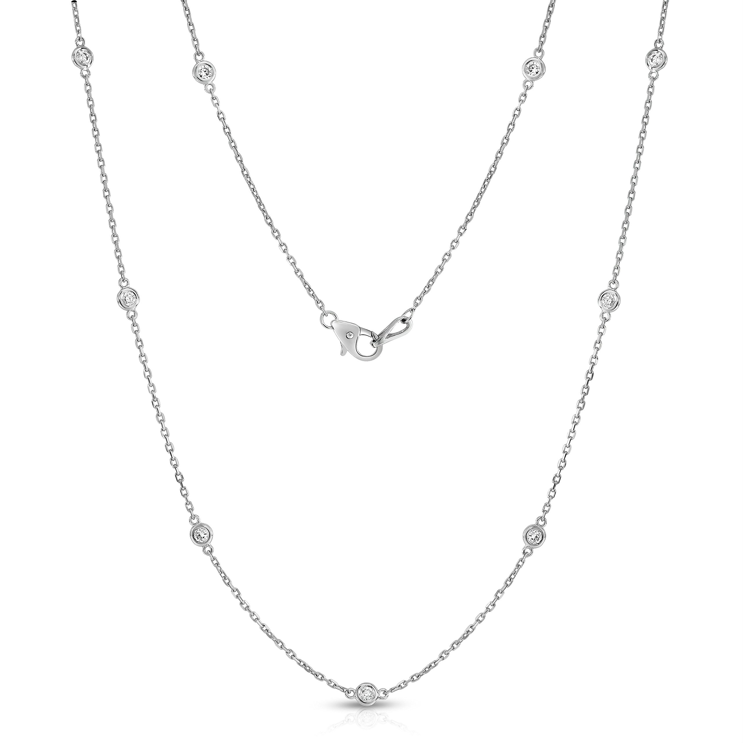 Noray Designs 14K White Gold Diamond by the Yard 10 Station Necklace (1 Ct, G-H, I1-I2), 18 Inches