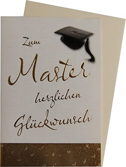 Glückwunschkarte In Gold Zum Bestandenen Master Mit Doktorhut 63 1108