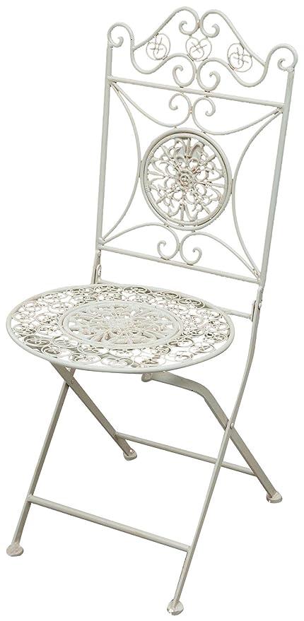 Set 2 sillas plegables en hierro forjado antiguo acabado ...
