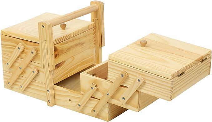 Caja de coser de madera voladizo: Amazon.es: Hogar