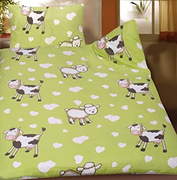 Baby Kinder Sommer Bettwäsche 100 X 135 + 40x60 Cm, Motiv: Kühe Und Schafe